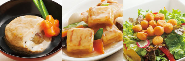 羽二重豆腐が開発した「加賀乃里」「とうふあげ」「こつぶあげ」の調理例 写真